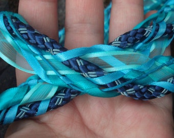 Wedding Handfasting Cord - Elemental Blue Oceans Water with Pearls Sea Life Charms