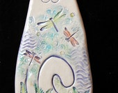 Ceramic White Cat with dragonflys wall hanging for home or garden