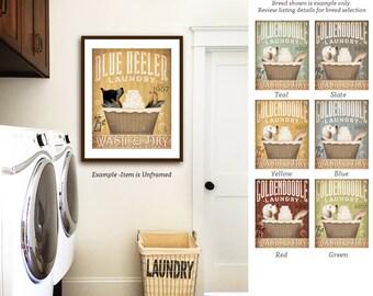 blue heeler australian cattle dog laundry basket laundry room art vintage style artwork by Stephen Fowler Giclee Signed Print