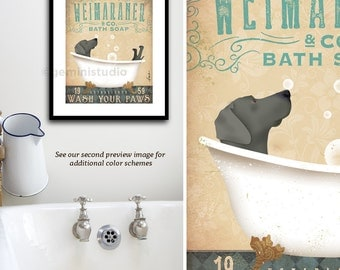 Weimaraner Grey dog bath soap Company vintage style artwork by Stephen Fowler Giclee Signed Print UNFRAMED