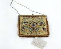 Antique Victorian Purse and Coin Purse, Jeweled Clasp, Petit Point Tapestry, Nice Chain, Floral Theme with Animals, Dutch, European