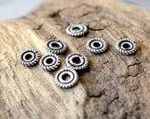 10pc Sterling Silver 5x1mm Spacer Beads with Coiled Ropy Edge Solid Antiqued .925 Sterling Silver