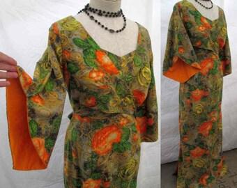 50s Vintage Hawaiian dress Pake Muu sleeves 50s Tiki Polynesian gown Orange Roses modern floral dress Liberty House cotton maxi dress M L