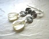 Citrine Earrings, Metal Stone Citrine Earrings, Handmade Gemstone Dangle Earrings, Drop Earrings, Gemstone Jewelry, Citrine, Metalwork