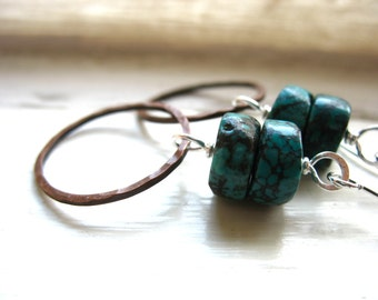 Turquoise Earrings, Turquoise Copper Hoop Earrings, Turquoise Jewelry, Gemstone Jewelry, luminous creation