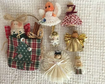 Vintage Christmas Angel Ornaments - An Assortment of 7 - All Handmade and All Different - Packaged in a Vintage Tin