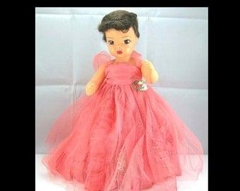 "Terri Lee Doll, 16"" Brunette, All Original Coral Net & Taffeta Formal, Silver Shoes, Slip and Panties, Vintage 1950s (G1)"