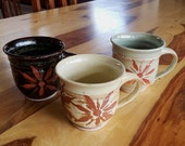 Three Stoneware Mugs - 14 oz. - Coffee Cup - Latte Mug