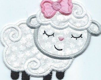 Sleepy Lamb Girl Applique iron on patch machine embroidered...ready to ship