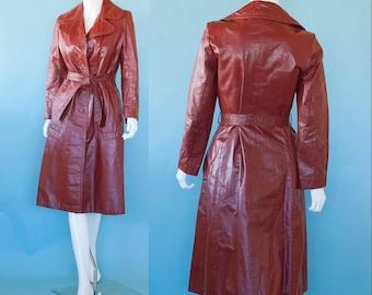 70s Vintage Dark Burnt Orange CHIC Leather Trench Long Jacket  Coat S