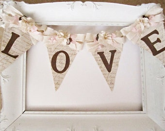Wedding Banner, Rustic Chic Wedding Decor, Vintage  Wedding Decor, Bridal Shower Decor, Wedding Shower Decor, Shabby Chic Wedding Decor