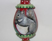 Original, Hand Painted Squirrel Ornament by Carolee Clark