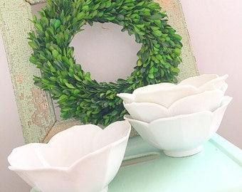 Bowl Full Of Cherries... Set of Four Vintage White Porcelain Lotus Bowls Large