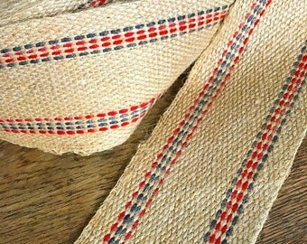 Spinning a Web... Huge Roll of Vintage Burlap Jute Webbing Trim Furniture Upholstery Red and Blue