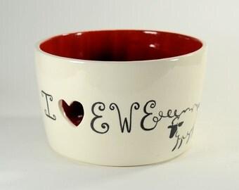 Ceramic Yarn Bowl I Heart Ewe