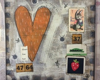 Funny Bunny 37   – original mixed media - WALL HANGING - collage