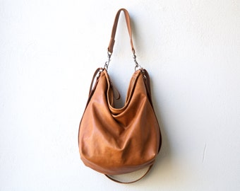 saddle leather backpack purse - HOBO PACK in soft lightweight leather - crossbody bag - convertible backpack - select size