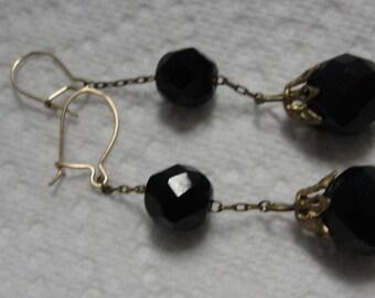 Black Glass Bead Dangle Pierced Earrings