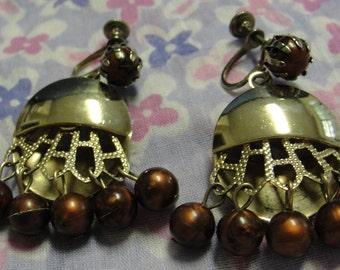 Vintage Gold Tone Brown Beaded Dangle Screw Earrings