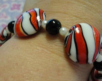 Candy Stripe Glass Beaded Bracelet