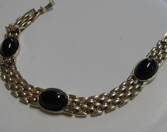 Gold tone and Oval Black Link Bracelet
