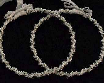 Greek Stefana, Orthodox Wedding Crowns, White Wedding Stefana, Orthodox Crowns, Wedding Ceremony Crowns, Pearl Stefana Crowns