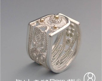 Open Filigree Sterling and Gold Ring