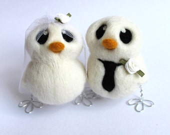 Love Birds Wedding Cake Topper White Wedding Bride and Groom Needle Felted Birds