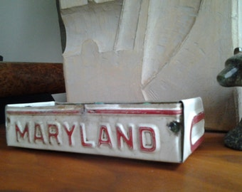 Rustic Maryland License Plate Tray - Storage Box - Planter - FREE SHIPPING - Baltimore - Annapolis