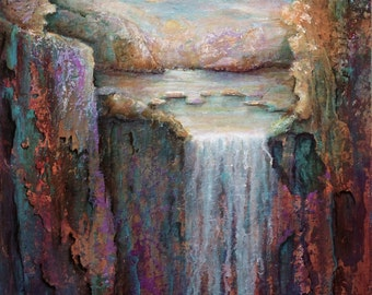 "SALE...12""x12"" original acrylic on canvas, Waterfall 2"