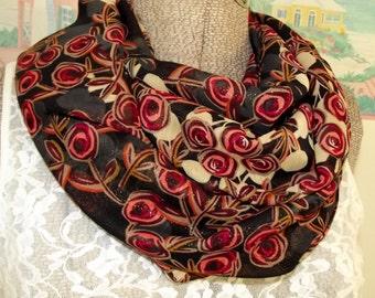 Handmade Infinity Scarf, Sheer Floral Fabric, Brown, Gray, Rose, Garden, Modern