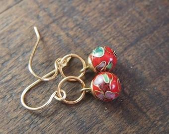 Rich red enamel earrings // E044