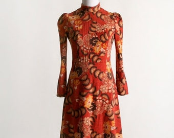 ON SALE Vintage 1960s Psychedelic Dress - Autumn Fire Color Floral Print Long Sleeve Wool Dress - Small XS
