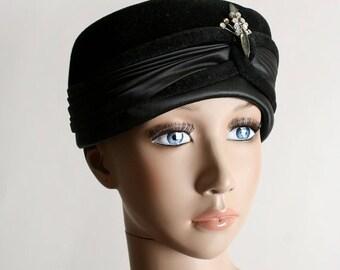 ON SALE Vintage 1950s Pillbox Hat - Black Satin & Velvet Rhinestone Fancy Hat