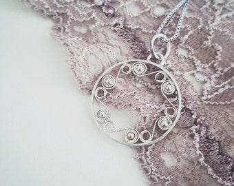 Silver Icelandic filigree pendant -The Sea Ocean Waves