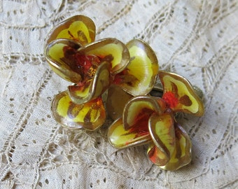 Vintage VENDOME Yellow Enamel Flower Earrings, Rhinestone Center ...  Heavy Resin Coat ... 1950s - 1970s