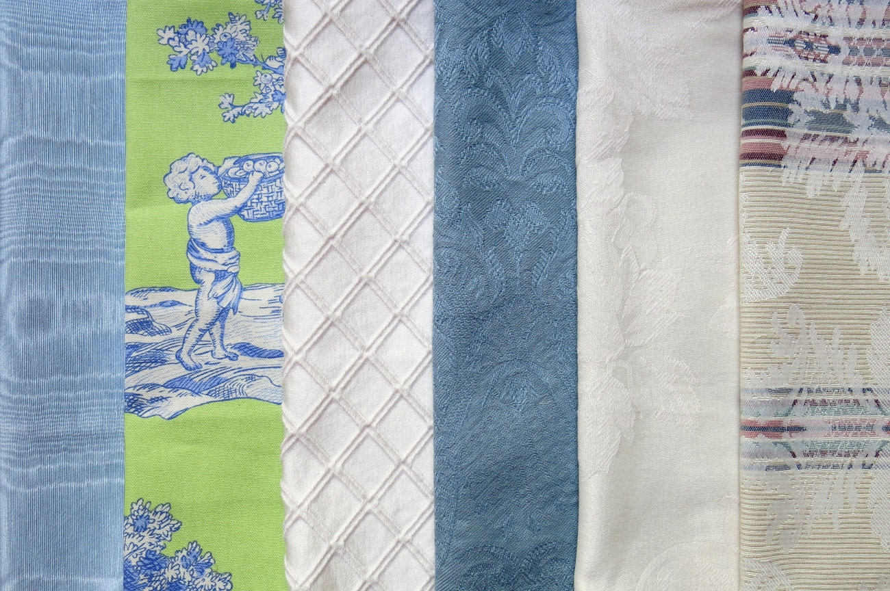 Blue Ivory Bright Green Fabric Pack Collection