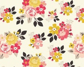 Vintage Daydream fabric, Cotton fabric by the Yard, Mustard, Pink fabric, Riley Blake Designs, Vintage Main in Cream, Choose your cut