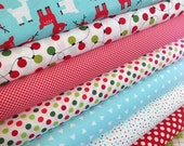 Christmas Fabric, Quilting Fabric, Reindeer Fabric by Ann Kelle, Deer Fabric, Jingle Fabric Bundle of 8. Fat Quarter Bundle to Yardage.