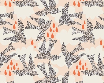 SALE fabric, Sweet as Honey fabric, Bird fabric by Bonnie Christine for Art Gallery, Coral fabric, Fly by Day, Choose the cut