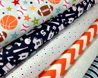 Sports fabric, Boy fabric, Football Fabric, Boy Nursery, Play Ball fabric by Riley Blake, Sports Decor, Sports Nursery, Choose your Cut