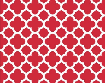 SALE fabric, Red and White fabric, Quatrefoil fabric, Apparel fabric, Riley Blake Fabrics- Quatrefoil in Red, Choose your cut