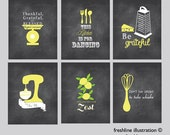 Kitchen Signs, Funny Kitchen Art, Set of Six 8x10, Be Grateful, Blessed, Spin Me, Grateful, Chalkboard