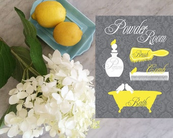 Bathroom Art - Powder Room Art Print - Bird Art - Brush, Perfume Bottle, Vintage Bathtub - Yellow and Gray Poster Print