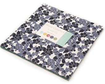 """Blue Simply Colorful II Moda Layer Cake, 20 - 10"""" precut fabric quilt squares by V & Company"""