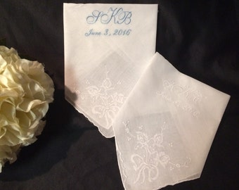 Bow Embroidered Bridal Wedding Handkerchief Heirloom | Bride | Gift | Hankie| Hankerchief  | Personalized | Monogrammed | Lucy's Pocket