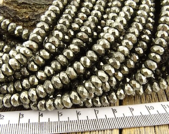 4x6mm Pyrite Faceted Beads Rondelle Gemstone Beads Rustic Brassy Gold coloring Natural - Restocked