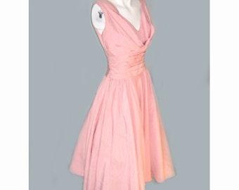 Vintage 1950's Pink Full Skirt Sleeveless Party Dress