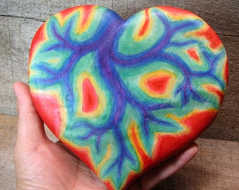 Pulsing Heart Tie Dye - Equality and Tolerance - Wooden Rainbow Chakra Wall Ornament Home Decor by Tanja Sova