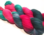 Hand Dyed Yarn – Superwash Merino Wool Cashmere Nylon MCN Sock Yarn  - Pinks, Aqua, Deep Green - 400 Yards – Fingering Weight Yarn